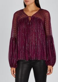 STELLA MCCARTNEY Polka dot purple silk-chiffon top ~ metallic thread blouse