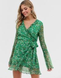 Stevie May jade long sleeve valentine wrap mini dress moss floral / green frill trimmed dresses