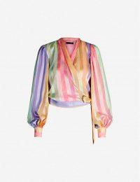 STINE GOYA Glenda striped devoré top Altitude stripes ~ rainbow wrap blouse