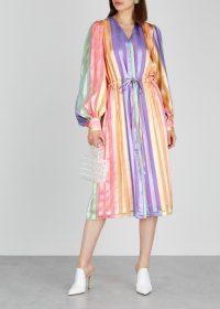STINE GOYA Violet striped satin midi dress ~ multicoloured stripes