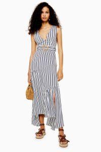 Topshop Stripe Belted Maxi Pinafore Dress | striped deep V-neckline summer dresses