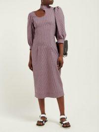 GANNI Striped cotton-blend seersucker midi dress ~ puff sleeved cut-out dresses