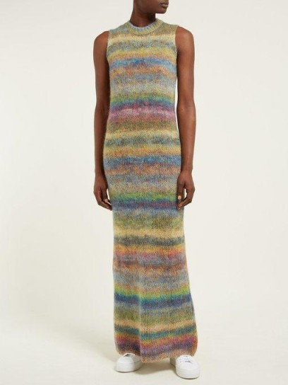 RAEY Striped hand-painted knitted dress ~ rainbow knits