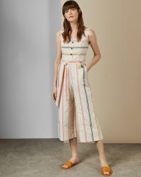 TED BAKER PERUUE Striped linen jumpsuit ivory