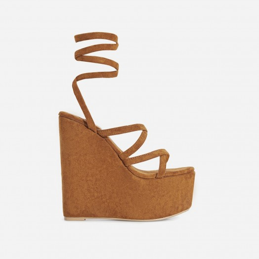 EGO Stripped Lace Up Platform Wedge Heel In Tan Faux Suede | super high summer wedges