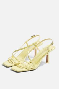 TOPSHOP STRIPPY Lime Heeled Sandals / pale-green summer shoes