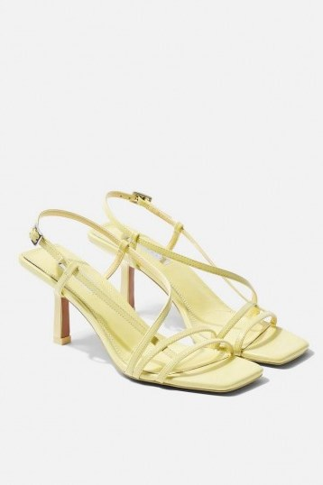 TOPSHOP STRIPPY Lime Heeled Sandals / pale-green summer shoes - flipped
