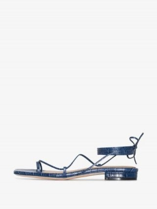 Studio Amelia Crocodile-Effect Strappy Sandals / blue croc embossed flats - flipped