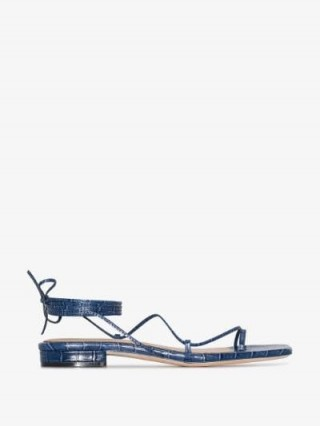 Studio Amelia Crocodile-Effect Strappy Sandals / blue croc embossed flats