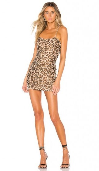 superdown Araya Ruched Cami Dress Leopard / gathered slip dresses - flipped