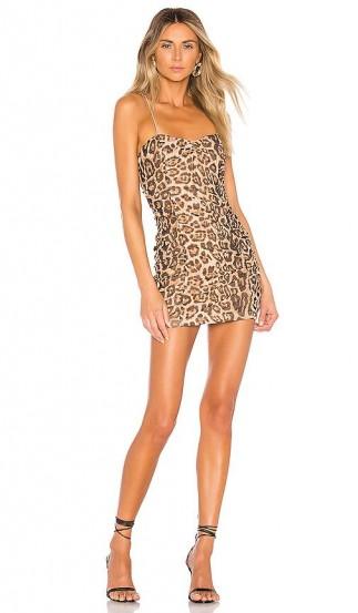 superdown Araya Ruched Cami Dress Leopard / gathered slip dresses