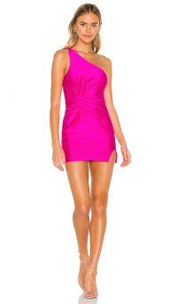superdown Bryce Front Knot Dress – hot pink one shoulder mini