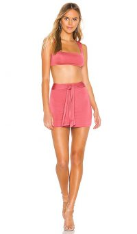 superdown Charlene Tie Skirt Set Dusty Rose – pink mini and bralet sets – summer two-piece