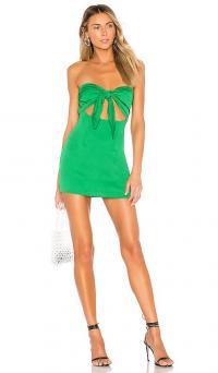 superdown Luciana Mini Dress in Green | cut-out party dresses | front tie detail