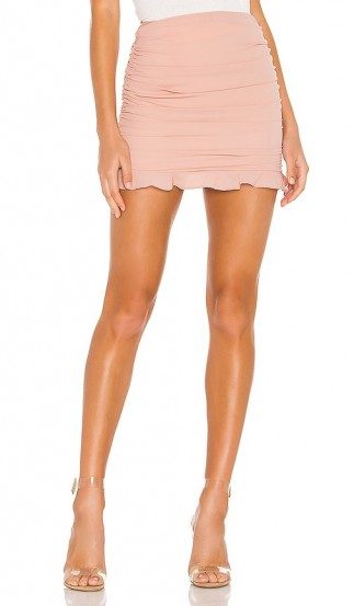 superdown Sammi Ruched Skirt Nude – gathered ruffle trim mini
