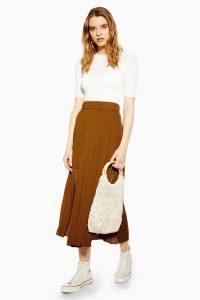 TOPSHOP Tan Satin Pleated Midi Skirt – brown skirts – trending colours