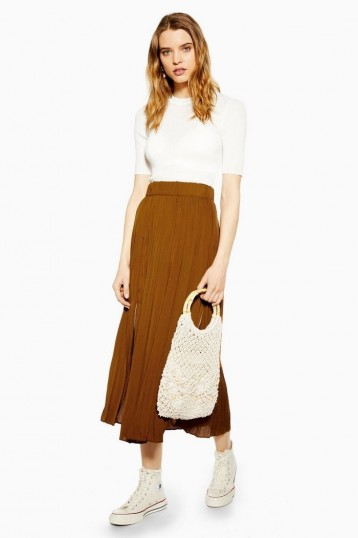 TOPSHOP Tan Satin Pleated Midi Skirt – brown skirts – trending colours