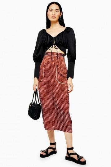 Topshop Tan Spot Pocket Midi Skirt Skirt | brown summer pencil skirts
