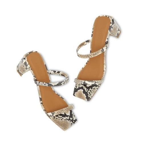 BY FAR Shoes TANYA SNAKE PRINT HEELS / minimal summer shoes / effortless glamour