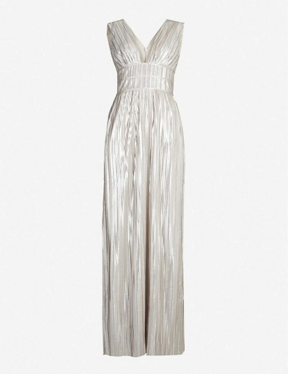 TED BAKER Aleccia metallic plunged-neck maxi dress gold