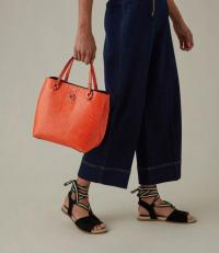 KAREN MILLEN Textured Tote Bag in Orange ~ bright & chic handbags