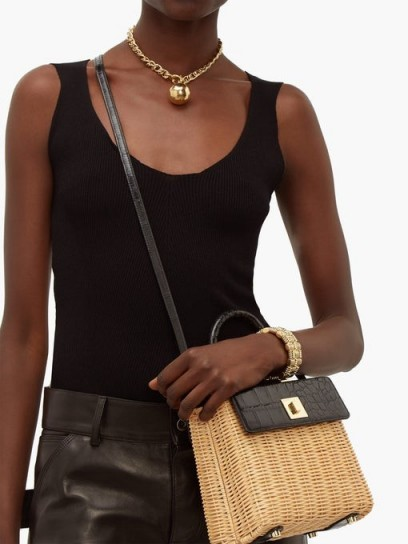 SPARROWS WEAVE The Classic wicker and black leather top-handle bag
