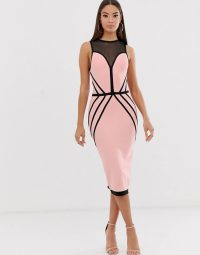 The Girlcode contrast bandage midi dress in taupe and black | sleeveless fitted party frock