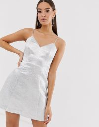 The Girlcode glitter jacquard mini skater dress in silver | strappy metallic party dresses