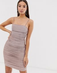 The Girlcode glitter lurex ruched mini dress in bronze | strappy gathered party dresses