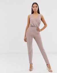 The Girlcode glitter lurex wrap front jumpsuit in mink | party glamour