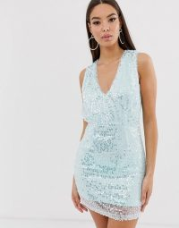 The Girlcode sequin mini dress in mint | shimmering party fashion