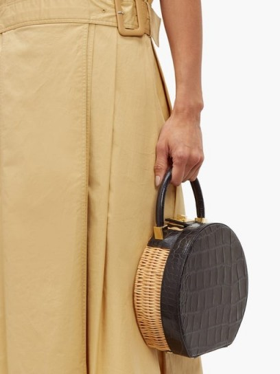SPARROWS WEAVE The Round wicker and leather bag ~ navy croc embossed top handle bags