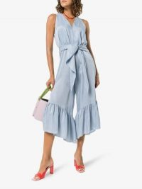 Tibi Tie Detail Ruffled Jumpsuit / pale-blue summer jumpsuits