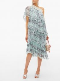 ZANDRA RHODES Tiered abstract-print blue silk-chiffon midi dress ~ floaty one shoulder