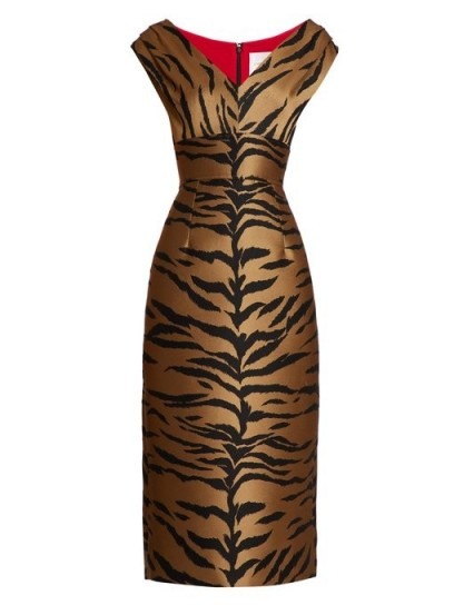 CAROLINA HERRERA Tiger-jacquard midi dress. BROWN ANIMAL PRINT DRESSES