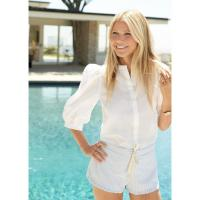 G. Label TRACY PUFF-SLEEVE BUTTON-DOWN in WHITE / classic summer style