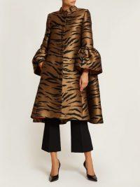 CAROLINA HERRERA Trumpet-sleeve tiger-jacquard opera coat. STATEMENT COATS
