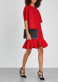 VALENTINO Red scalloped wool-blend dress