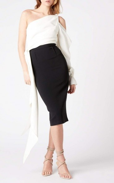 Roland Mouret VERO TOP White – draped one shoulder tops - flipped