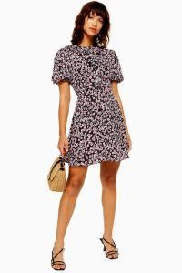 Topshop VERONA Ruffle Ditsy Floral Print Tea Dress | vintage style tie neck summer dresses