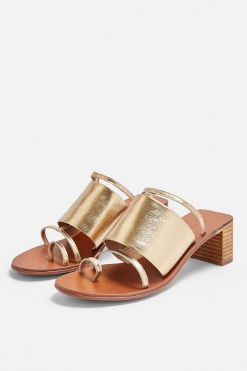 TOPSHOP VIOLET Gold Mule Sandals / metallic summer sandals