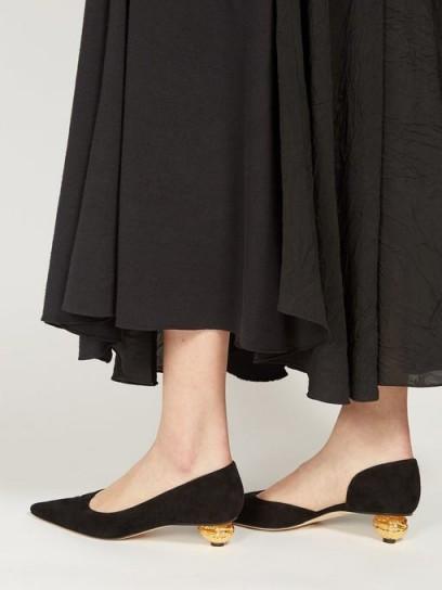 LOEWE Walnut-heel black suede kitten-heel pumps