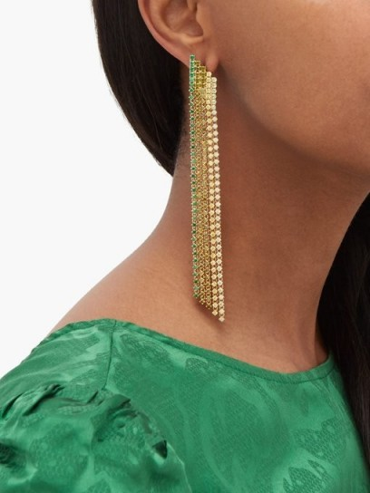 LYNN BAN Waterfall fringed sapphire & gold-plated earrings ~ multi coloured strands