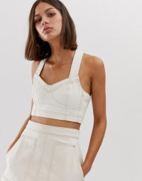 Weekday co-ord denim crop top with contrast stitching in ecru | summer fashion sets