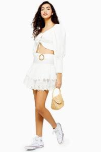 Topshop White Broderie Tiered Mini Skirt | modern rara