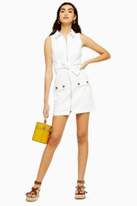 Topshop White Horn Button Denim Dress | sleeveless summer day dresses