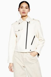 TOPSHOP White Leather Biker Jacket By Boutique – military style jackets