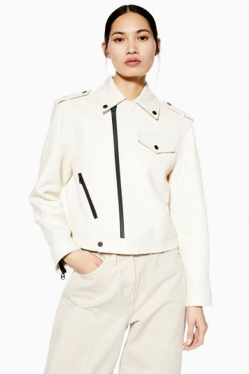 TOPSHOP White Leather Biker Jacket By Boutique – military style jackets - flipped