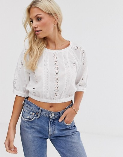 Y.A.S brodierie elasticated waist top white | cropped boho tops