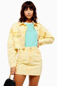 Topshop Yellow Acid Wash Denim Hacked Jacket | crop hem jackets | casual summer look